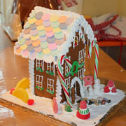 A Decorated Two Story Gingerbread House