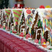 A Row of Large Decorated Gingerbread Houses