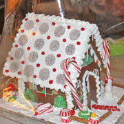 Large Decorated Gingerbread House - side and front