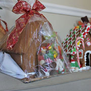 Large Gingerbread House Kit - Wrapped in Front and Decorated Behind