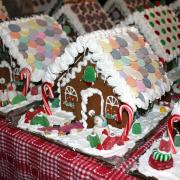 Rows of Medium Decorated Gingerbread Houses